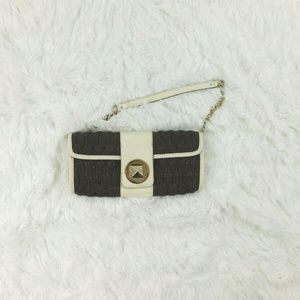 KATE SPADE Leather Shoulder Bag Brown and White